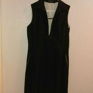 Tahari black sleeveless dress
